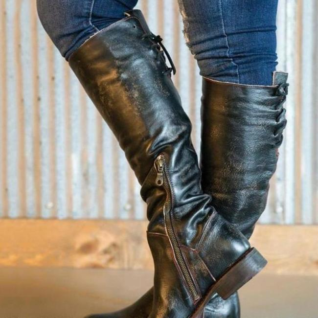 Fashion Women Low Heel Knee-High Boots