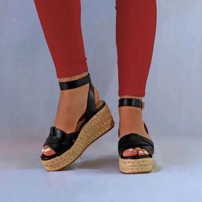 Buckle Strap Platform Sandals