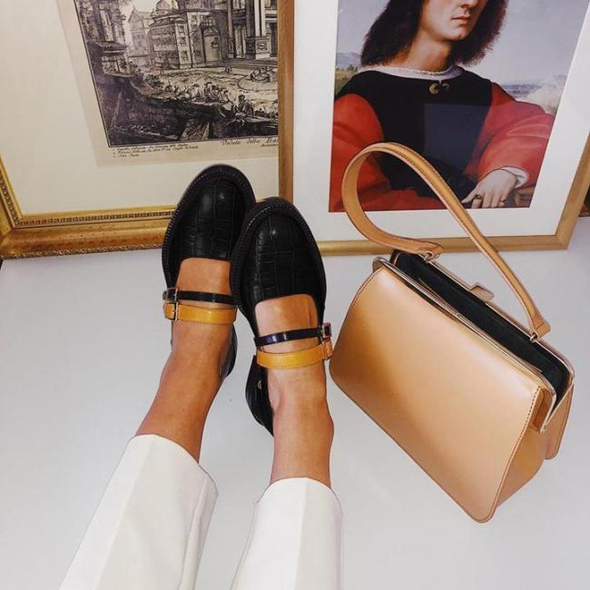 Women's Vintage Color Block Shoes Buckle With Ladies Loafers