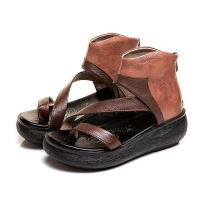 Women Platform Zipper Clip Toe Sandals