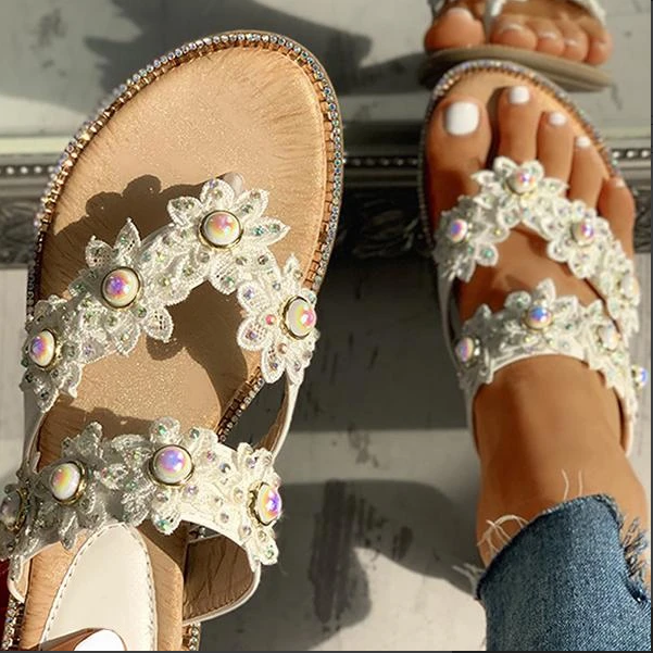 2020 New And Fashional Woman Sofiawears Studded Toe Post Flat Slipper Sandals