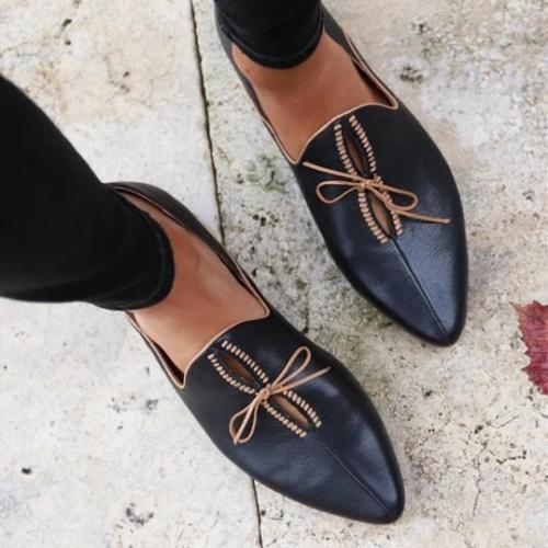 Women All Season Lace Up Flat Slip On Mules