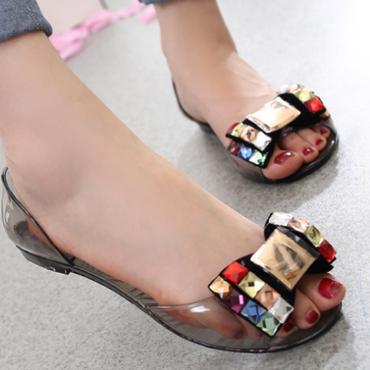 2020 Woman Summer Peep Toe Transparent Bling Sandals