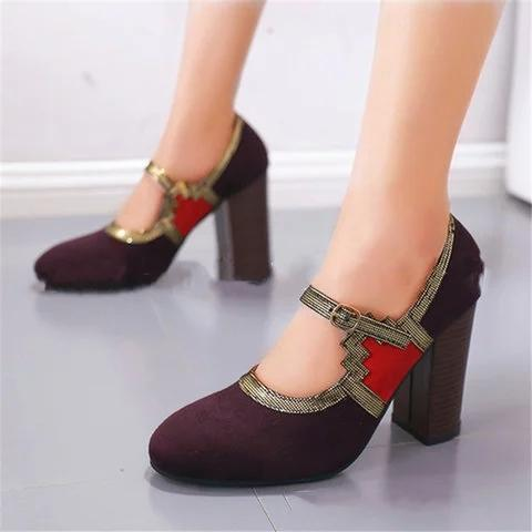 Women Round Toe Chunky Heel Artificial Suede Casual All Season Sandals
