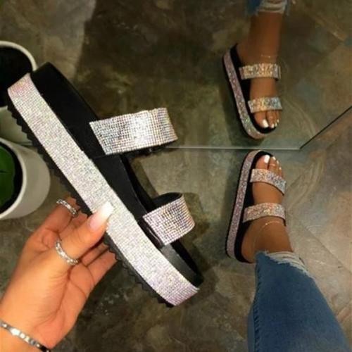 Pi Clue Rhinestone Summer Slippers