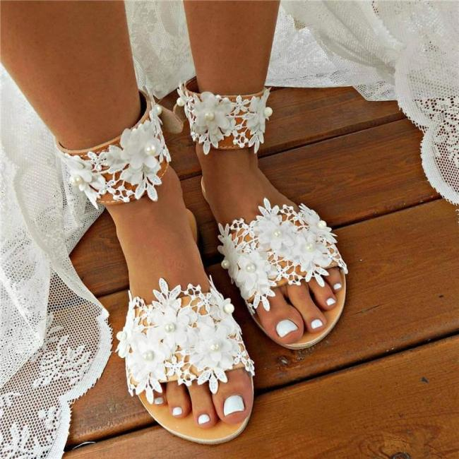 Women Wedding Lace Pearl With Foot Ring Open Toe Slip On Flat Heel Slippers