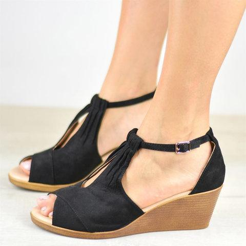 Sole Center Cut Wedges Peep Toe Wedge Sandals