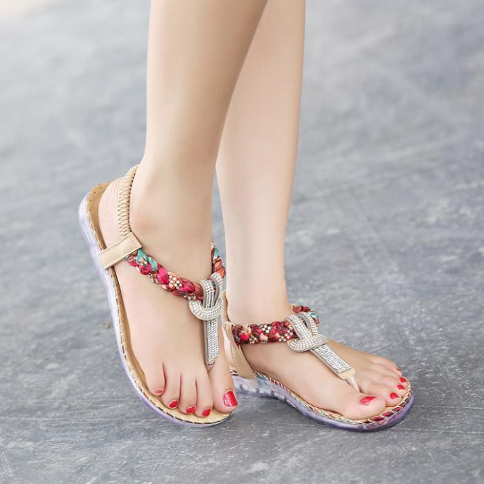 Summer Sandals Women T-strap Flip Flops Thong Sandals