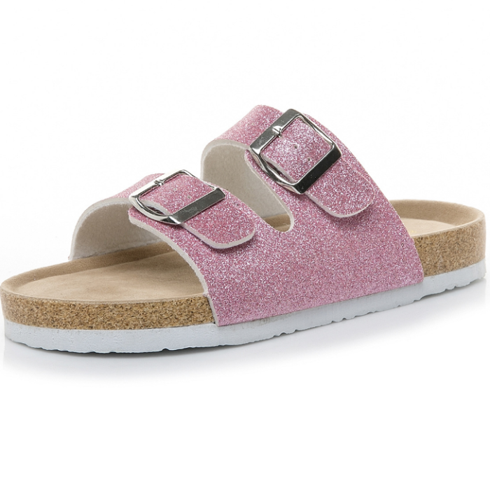 2020 New Fashion Women Colorful Sequin Buckle Flat Sandals