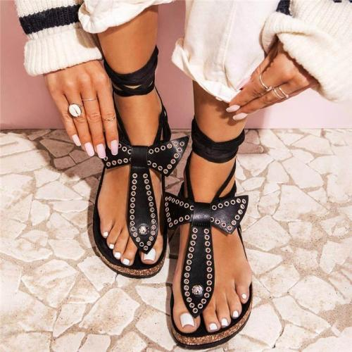 Women Bowknot Metal Circle Thongs Lace-up Flat Heel Sandals