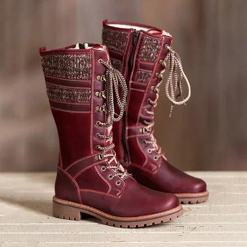 Waterproof Knitted Fabric Paneled Boots Casual Mid-calf Warm Boots
