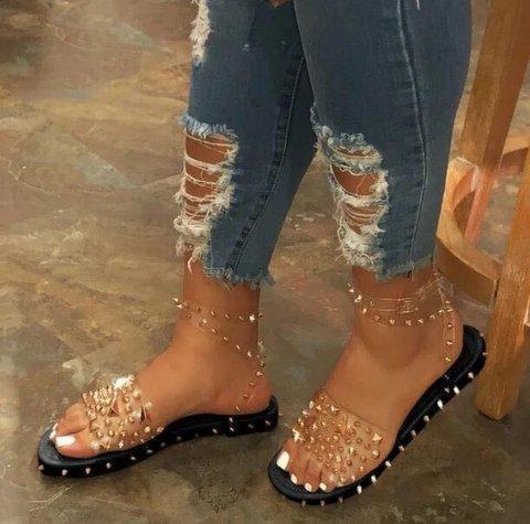 Women Ankle Strap Line-Style Buckle Rivet Sandals
