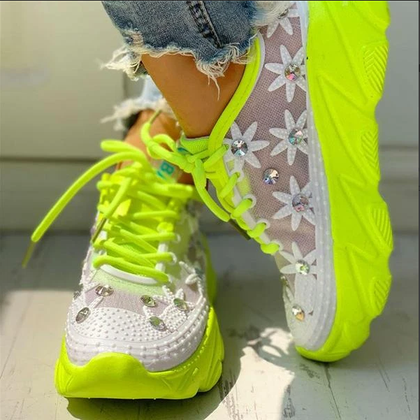 2020 New And Fashional Women's Mesh Rhinestone Platform With Wedges And Hollowed Out Sneakers