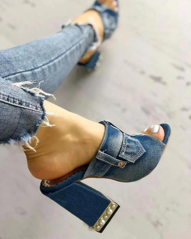 Colawings Denim Distressed Peep Open Toe Chunky Heels Slides