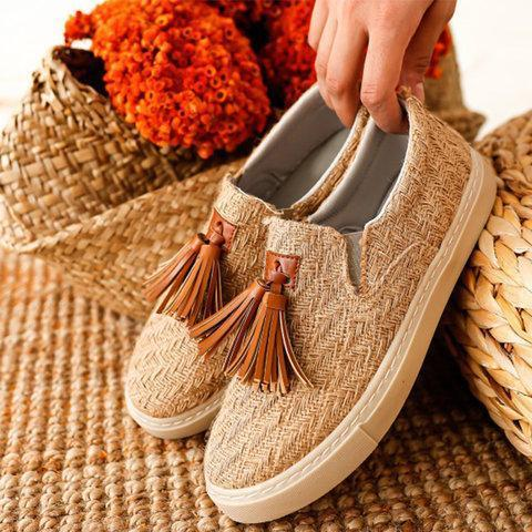 Flat Heel All Season Date Tassel Artificial Leather Sneakers