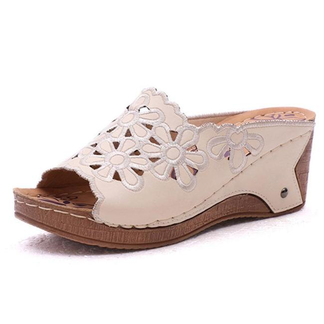 Women Casual Comfy Soft Sole Peep Toe Hollow Flowers Wedges Sandals
