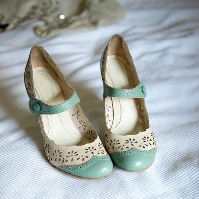 Color Block Flower Hollow High Heel Sandal