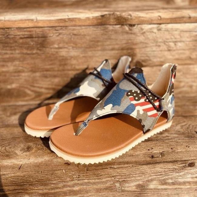 Women's Summer Beach Casual Camouflage Flip-flops Sandals