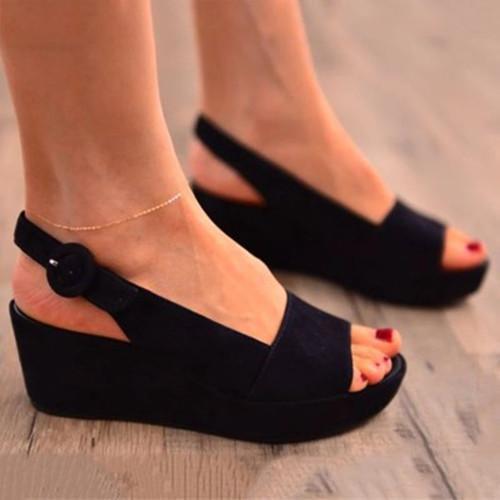 Peop Toe Suede Platform Sandals