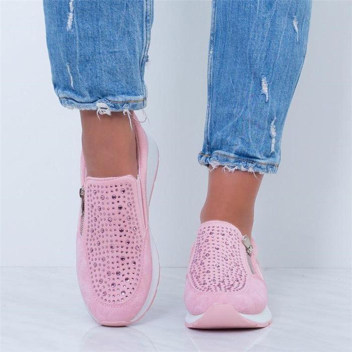 Women Comfy Platform Trainers Zip Sneakers