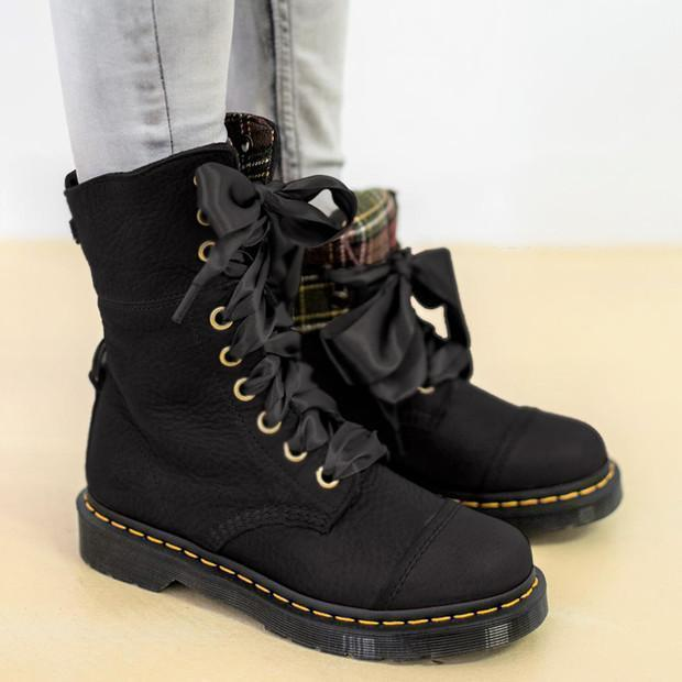 Womens Lace-up All Season Low Heel Pu Leather Casual Boots