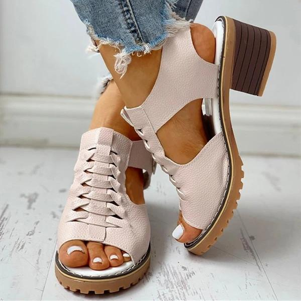 Women's PU Chunky Heel Peep Toe With Zipper Sandals
