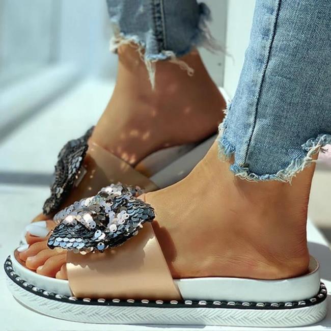 Women Summer Sequins Bowknot Flat Slippers