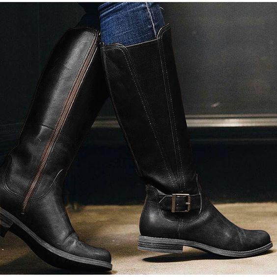 Womens Casual Chunky Heel Winter PU Knee Boots
