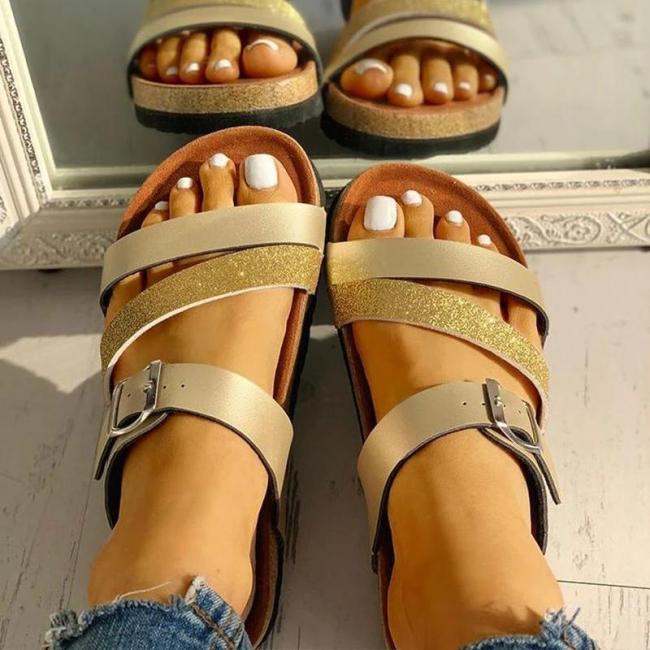 Women Fashion Paillette Open Toe Buckle Strap Sandals
