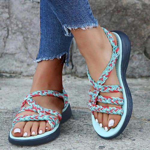 Women Summer Braided Strap Open Toe Slippers