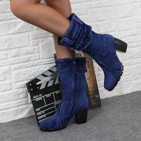 Mid-rise chunky with casual denim booties