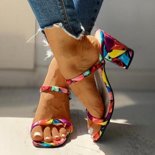 Fashion print simple sandals