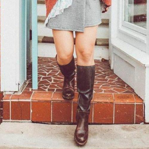 Fashion Women Low Heel Knee-High Boots