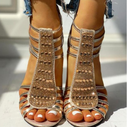 2020 Woman Summer Style Wedges Pumps High Heels Slip on Bling Fashion Gladiator Sandals