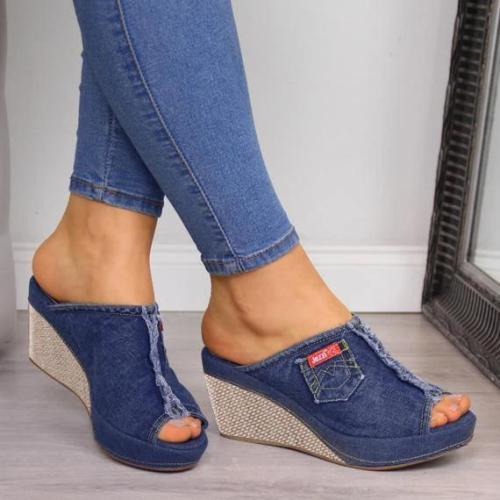 Women Peep Toe Casual Summer Wedge Sandals