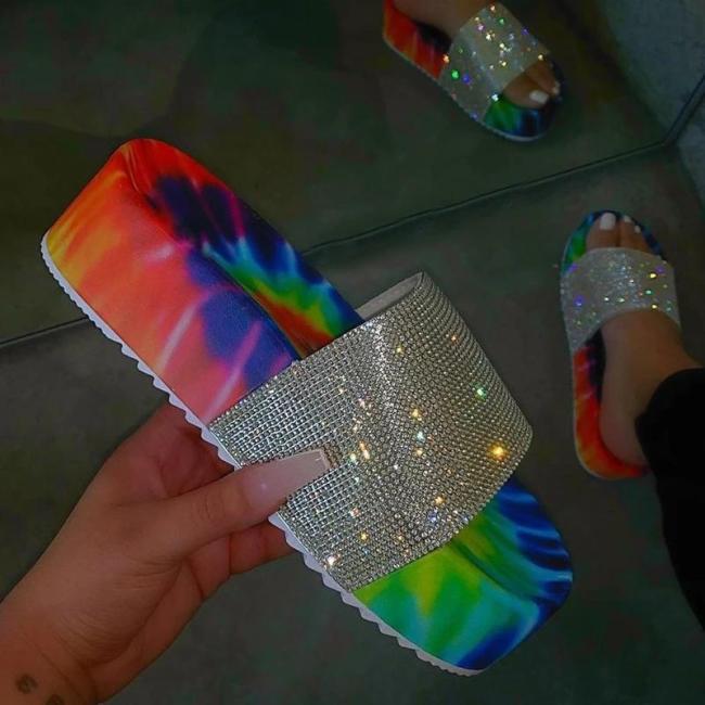 Slip-On Flip Flop Platform Rhinestone Summer Slippers