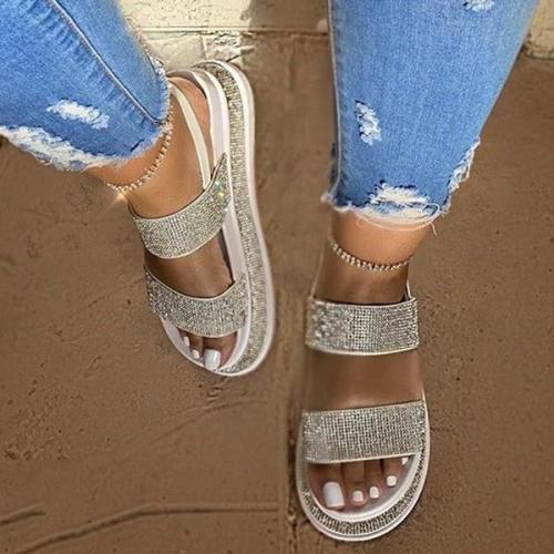 Open Toe Strappy Slip-On Platform Platform Sandals
