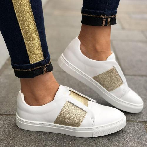 SLIDE ROUND CASUAL FLAT HEEL PU WOMEN SNEAKERS