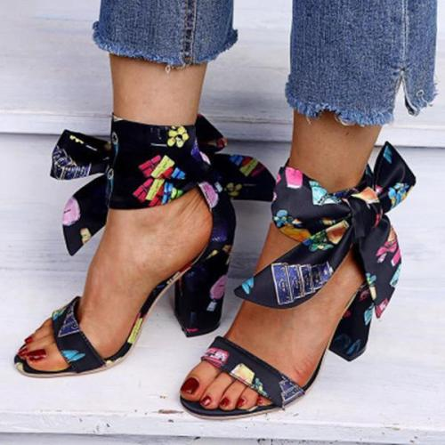 Women's Elegant Casual Flower Print Heel Sandals