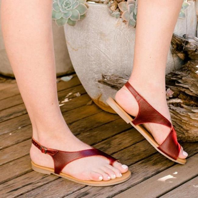 Vintage Toe Ring Bohemian Flat Sandals With Adjustable Buckle
