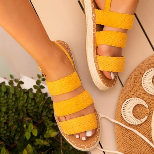 Summer Fashion Thick Bottom Strap Woven Sandals