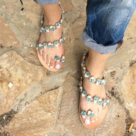 Women Beach Flat Heel Rhinestone Summer Sandals