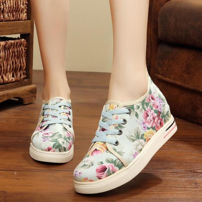 Flower Printing Lace Up Hidden Heel Casual Shoes