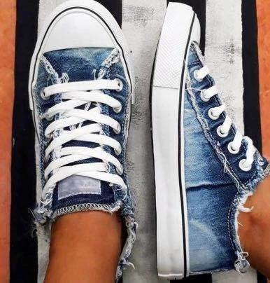Denim sepia style canvas Sneakers