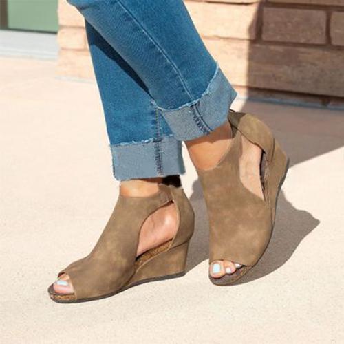 Women Chic Espadrille Wedges Adjustable Buckle  Peop Toe Sandals
