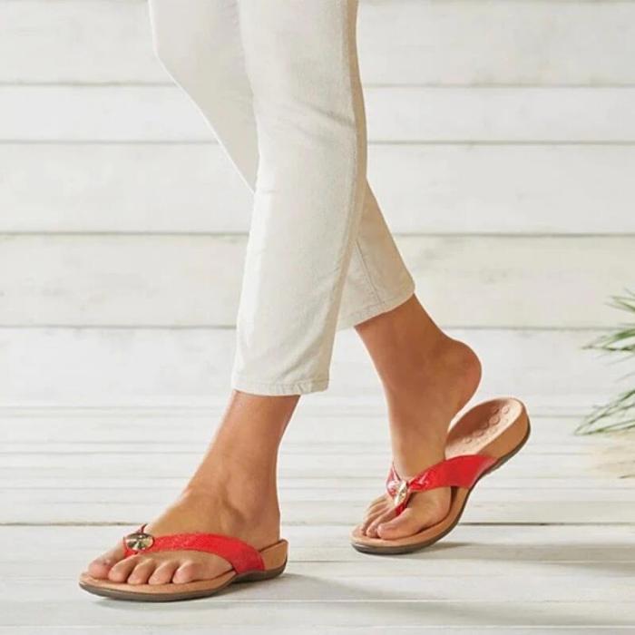 Women Comfortable Metal Decoration Flip-flop Slip On Flat Heel Slipper