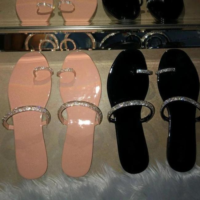 Flat With Slip-On Rhinestone Toe Ring Casual Rubber Slippers