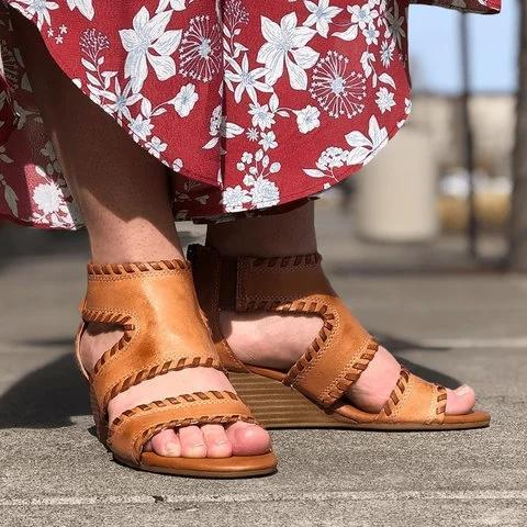 Women Vintage Summer Dress Wedge Sandals
