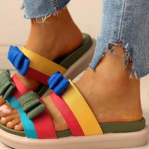 2020 Summer New Spell Color Bow Platform Slippers