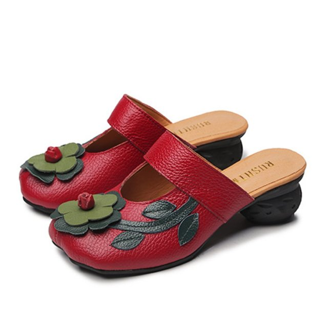 Women Soft Leather Flowers Square Closed Toe Slippers